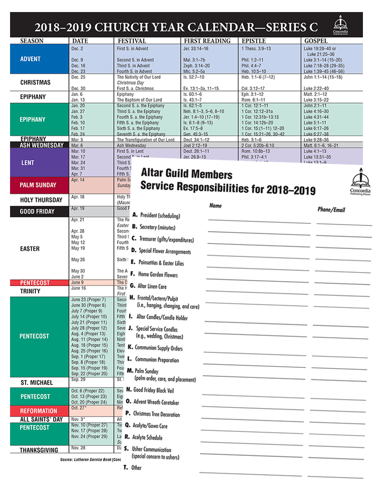 2018–2019 Church Year Calendar